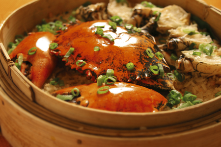 asian cuisine: Asian cuisine - steamed rice with crabs