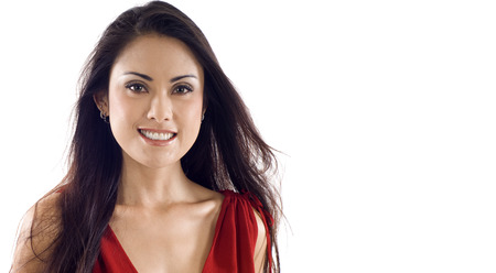 asian woman face: Beautiful Asian woman with copyspace, isolated over white background
