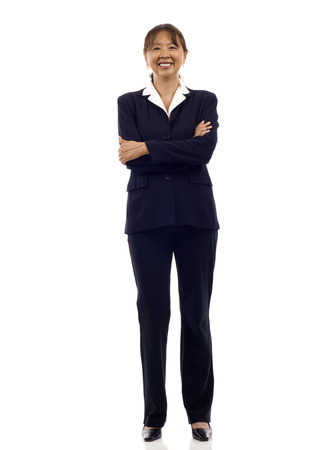 Senior Asian business woman smiling , full length portrait isolated on white Stock Photo