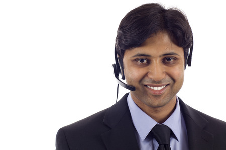 the service: Young male customer service operator