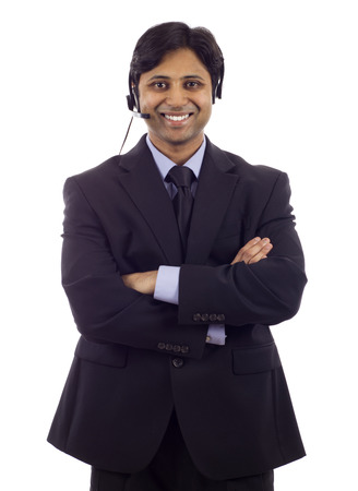 Young male customer service operator