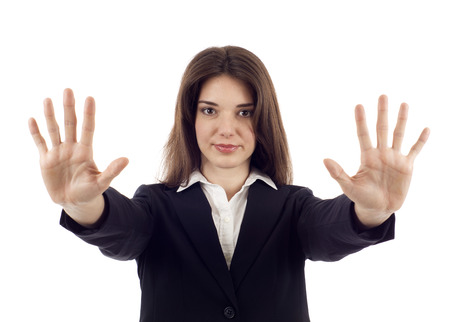 showed: Hold on, Stop gesture showed by businesswoman hands isolated over white background