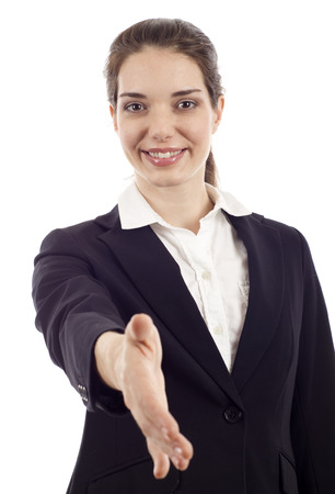 approvement: Portrait of positive business woman stretching her hand for a handshake isolated Stock Photo