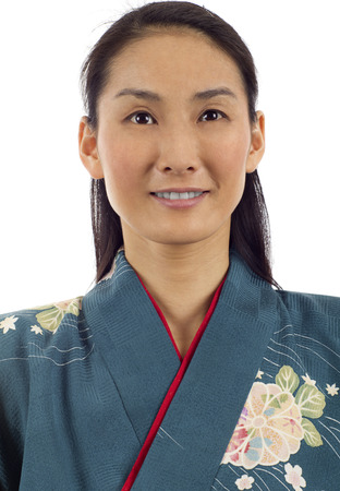 informal clothes: Closeup portrait of smiling Japanese kimono woman isolated over white background