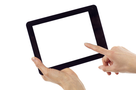personal point of view: Hands holding and point on digital tablet isolated over white background