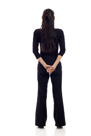 back of head: Asian business woman full body from back isolated over white