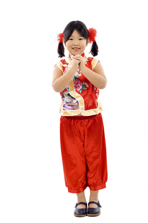 gong xi fa cai: Little Asiangirl wishing you a Happy Chinese New Year!   Gong Xi Fa Cai ! Stock Photo