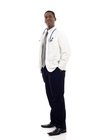 black americans: Full length of a African American male doctor standing against isolated white background