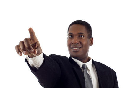 African American Business Man touching the left side of the imaginary screen isolated white background