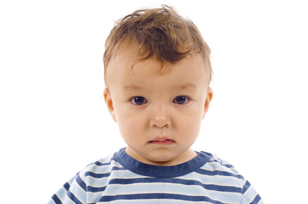 running nose: Portrait of Asian  Caucasian Mixed Baby Boy - Isolated over a white background Stock Photo