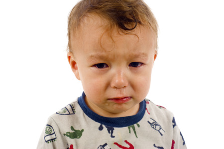 fussy: Baby Boy has Stopped Crying, But Not for Long.. - Isolated over a White Background