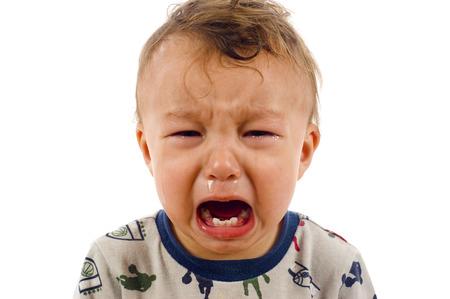 fussy: Unstopable Crying Baby Boy - Isolated overa White Background Stock Photo