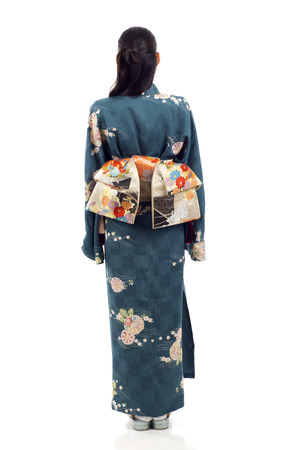 japanese kimono: Full length back view of a Japanese kimono woman standing isolated over white background