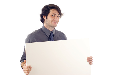 young add: Business man displaying a banner ad isolated over a white background