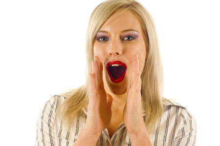 get across: Blond Woman Trying to Get her Message across by Shouting