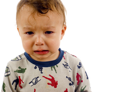 cranky: Adorable, Crying Asian  Caucasian Baby Boy a lot of Copyspace - Isolated over a white background