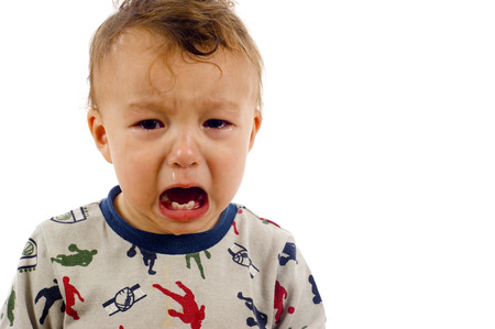 Adorable, Unstoppable Screaming, Crying Baby Boy a lot of Copyspace - Isolated over a white background