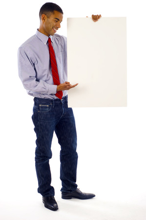 displaying: business man displaying a banner ad isolated over a white background