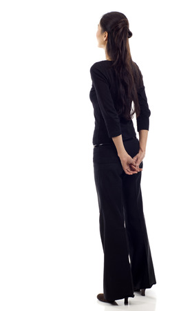 female business: Asian business woman from the back - looking at something isolated over white background Stock Photo
