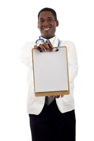 h1n1 vaccination: African American doctor holding a clipboard isolated over white background