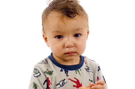 Portrait of Baby Boy with a Running Nose - Isolated over a white background