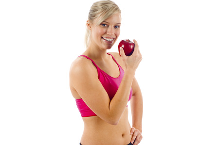 chomp: Beautiful & Healthy Girl Eating an Apple