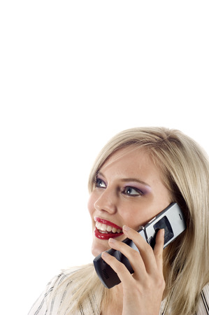 Business Woman Thinking & Talking on her Mobile Phone Stock Photo