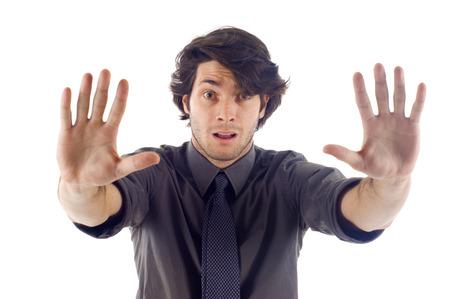 若いビジネス人表示停止手サイン - 白い背景に分離