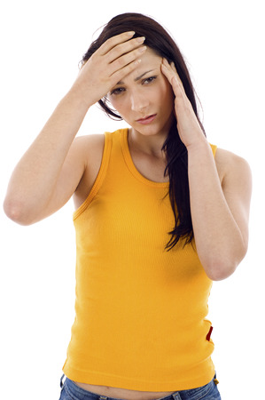 complications: Woman feeling the pain isolated over a white background