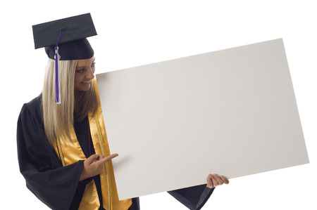 Friendly smiling graduation woman with a banner isolated over a white background