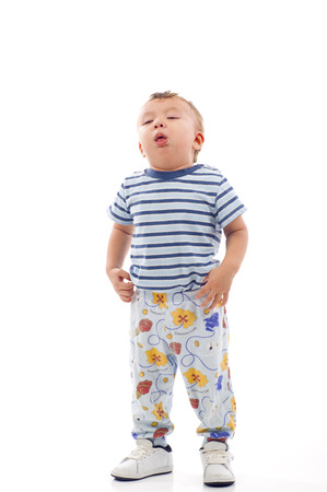 Sick Baby Boy - Coughing, Isolated over a white background Foto de archivo