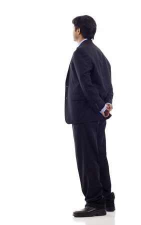 cross ties: Asian business man from the back - looking at something over a white background