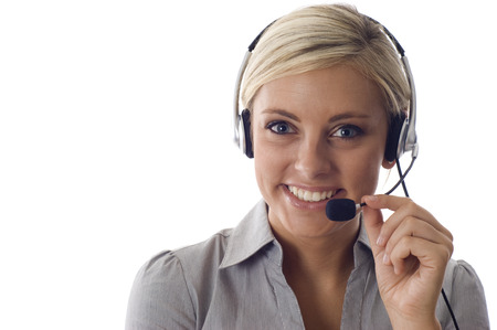 customer service representative: beautiful business customer service woman -isolated over a white background, a lot copyspace. Stock Photo