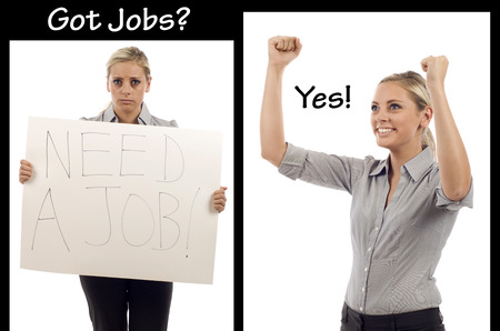 layoff: Layoff worker desperately looking for a job, and successfully finding her dream job! Stock Photo