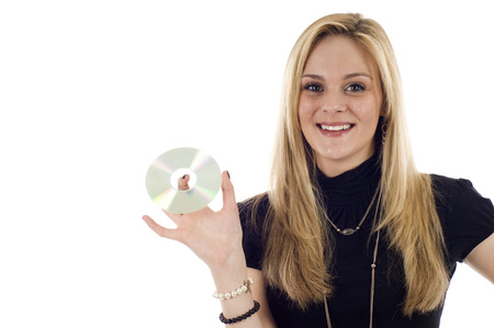 Businesswoman holding CD isolated on white, a lot of copyspace. Stock Photo