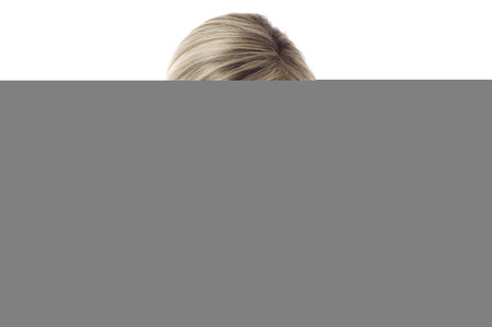 contact us: Women with card- Contact Us! isolated on white background