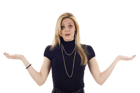 indecisive: Business woman with her hands up, good for placing objects on her hands, she looks confused or indecisive, isolated on white. Stock Photo