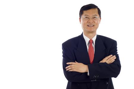白い背景を分離、copyspace の多くの上級アジア ビジネス男。