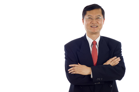 Senior Asian business man on a white background isolated, a lot of copyspace.