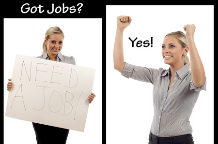 Businesswoman looking for a job, and successfully finding her dream job!