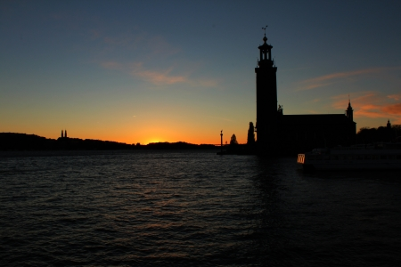 Stockholm, Sweden, 26th October, 2012, Stockholm city hall in the autumn sunset