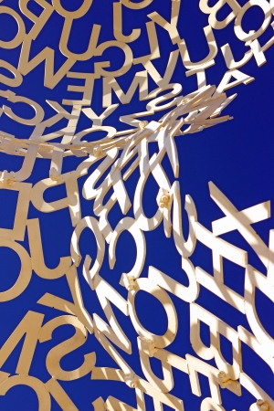 plensa: Antibes, France, 12th February, 2013, Close up photo of Jaume Plensa sculpture white letters and blue sky