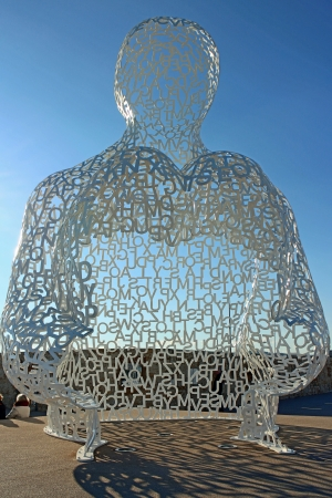 plensa: Antibes, France, 12th February, 2013, A full picture of the Jaume Plensa sculpture in Antibes harbour
