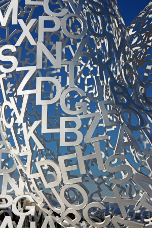 plensa: Antibes, France, 12th February, 2013, A closeup photo of letters in Jaume Plensa sculpture
