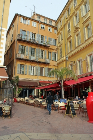 14th: Nice, France, 14th February, 2013, An empty cafe in the spring sun in old town Nice