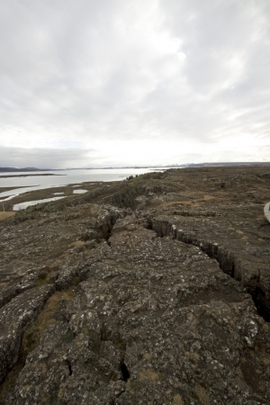 rifts: March 29th 2013, Thingvellir national park, Iceland, Two rifts under a overcast sky