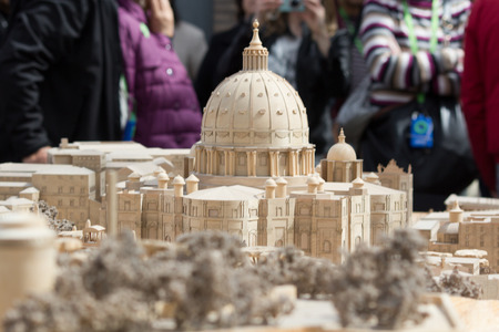 short focal depth: 2014 28th March Rome Italy A model of the st peters church in the vatican museum