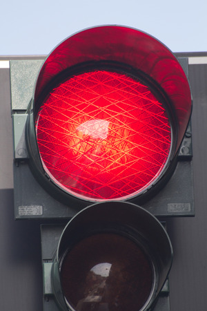 red traffic light: 2014 30th March Rome Italy Close up of a red traffic light