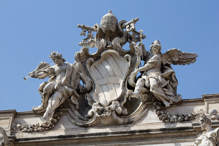 fasade: 2014 29th March Rome Italy A statue on the fasade at the fontana di trevi Stock Photo