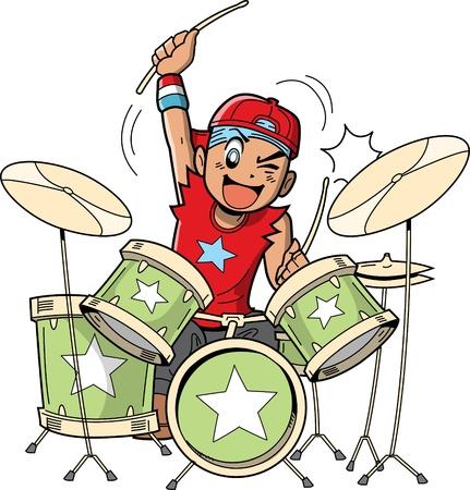 tambor: Fun anime y manga rocas de dibujos animados de estilo baterista cuando él está tocando la batería